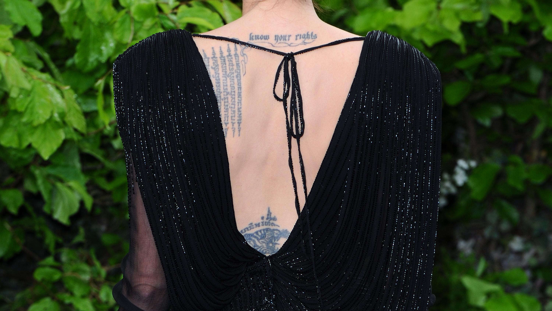 Angelina Jolie's back tattoo.