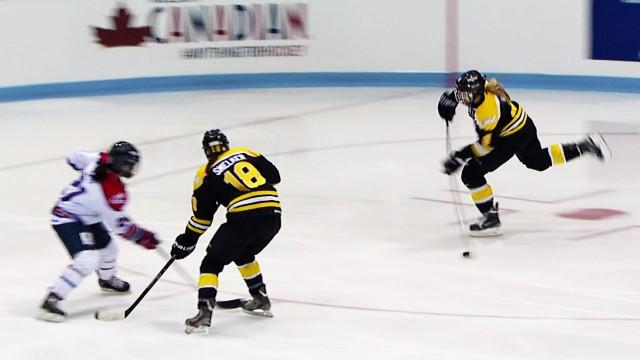 Janine Weber takes her game-winning shot in overtime in the Clarkson Cup Final for the Boston Blades.  Weber was the first free agent signing by the New York Riveters, and the first NWHL player signed in history.