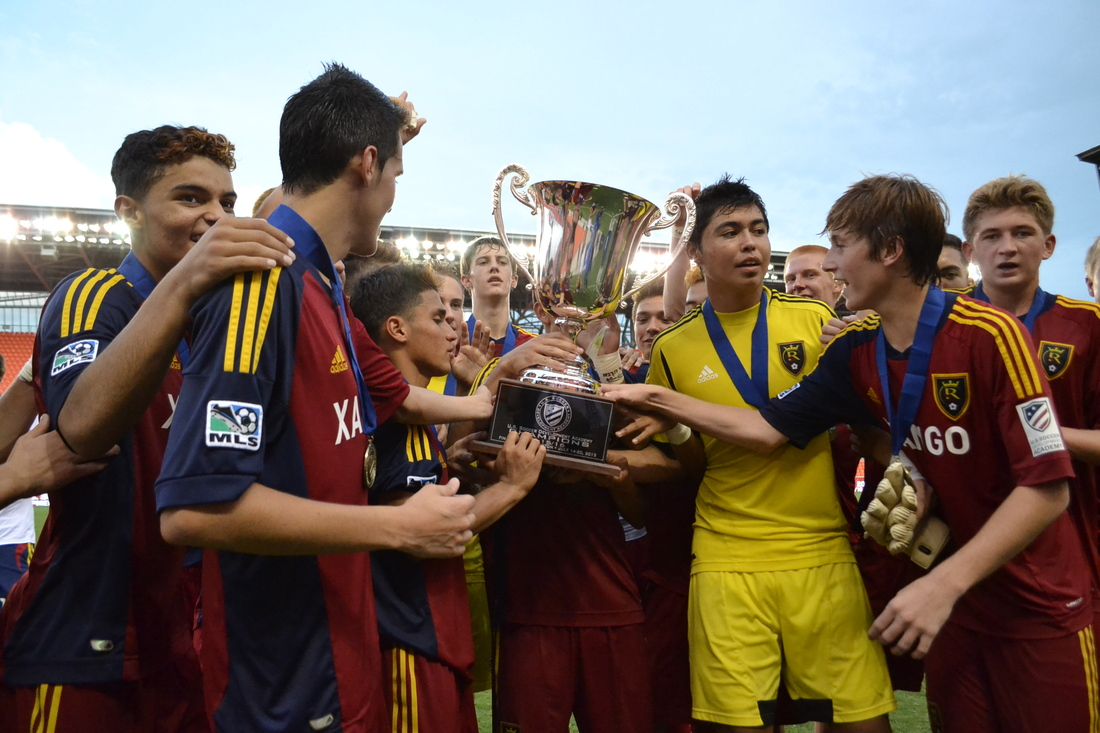 Real Salt Lake's U-16s hoist the USSDA championship in 2013. They're up for the U-18 trophy today.