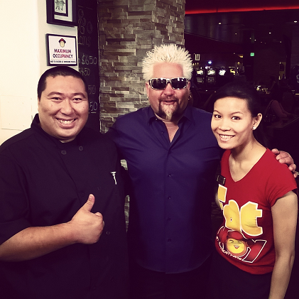 Sheridan Su, Guy Fieri and Jenny Wong during the filming of Diners, Drive-Ins and Dives at Fat Choy