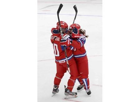 Belyakova celebrates a goal in the 2013 Women's Worlds.