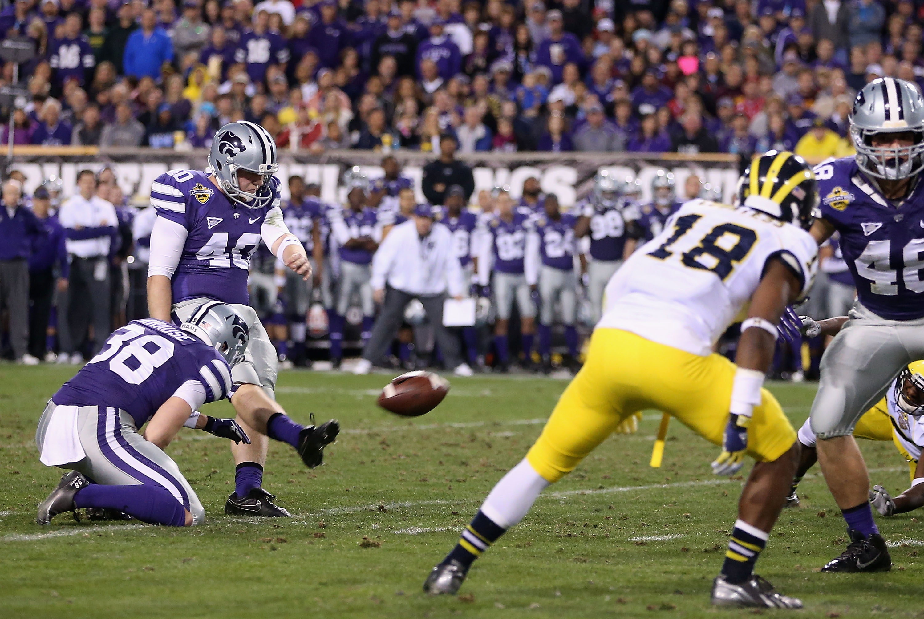 Ian Patterson returns in 2015 as K-State's primary kickoff specialist. Surprisingly, it doesn't appear he's on scholarship yet.