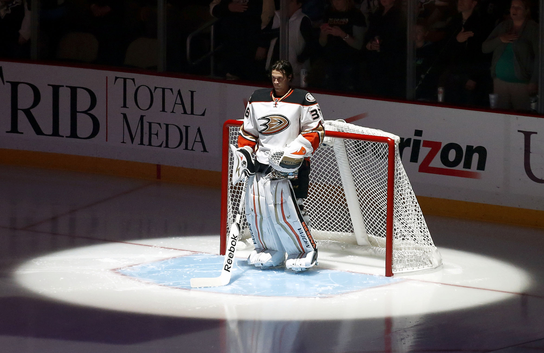 John Gibson saw a little more time in the spotlight this season with the Anaheim Ducks.