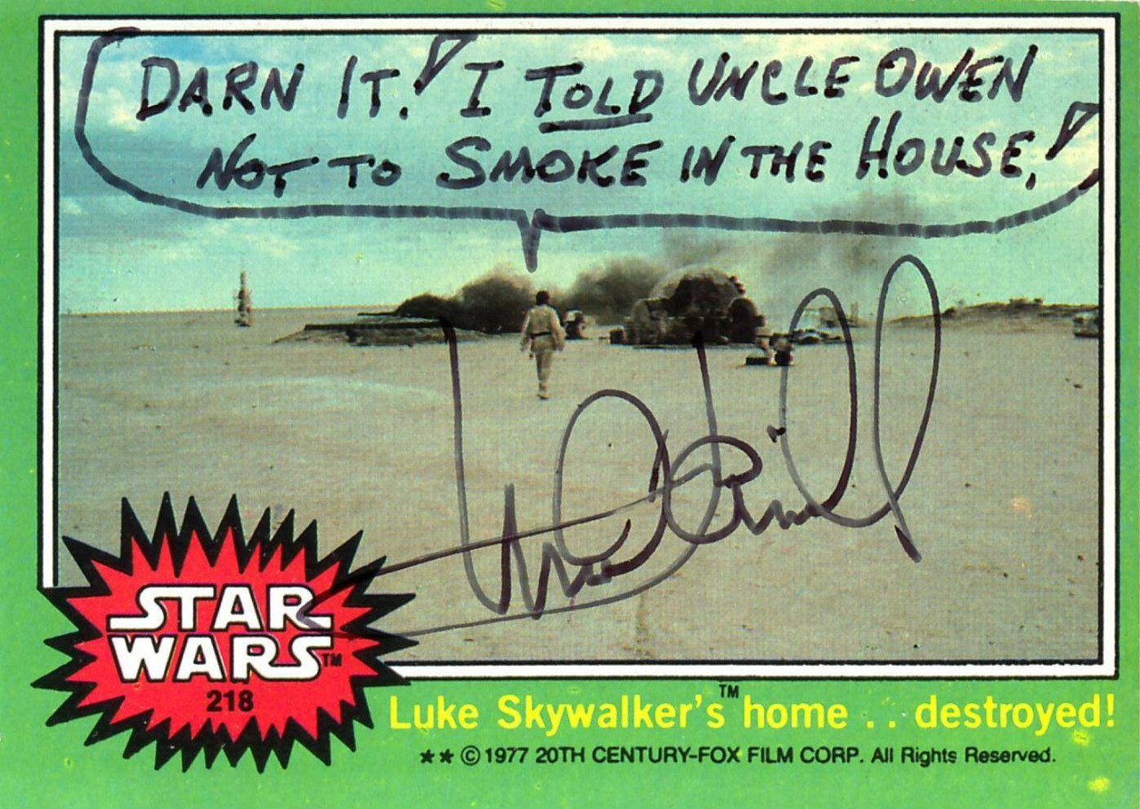 Mark Hamill signed these real Star Wars trading cards in very inappropriate ways
