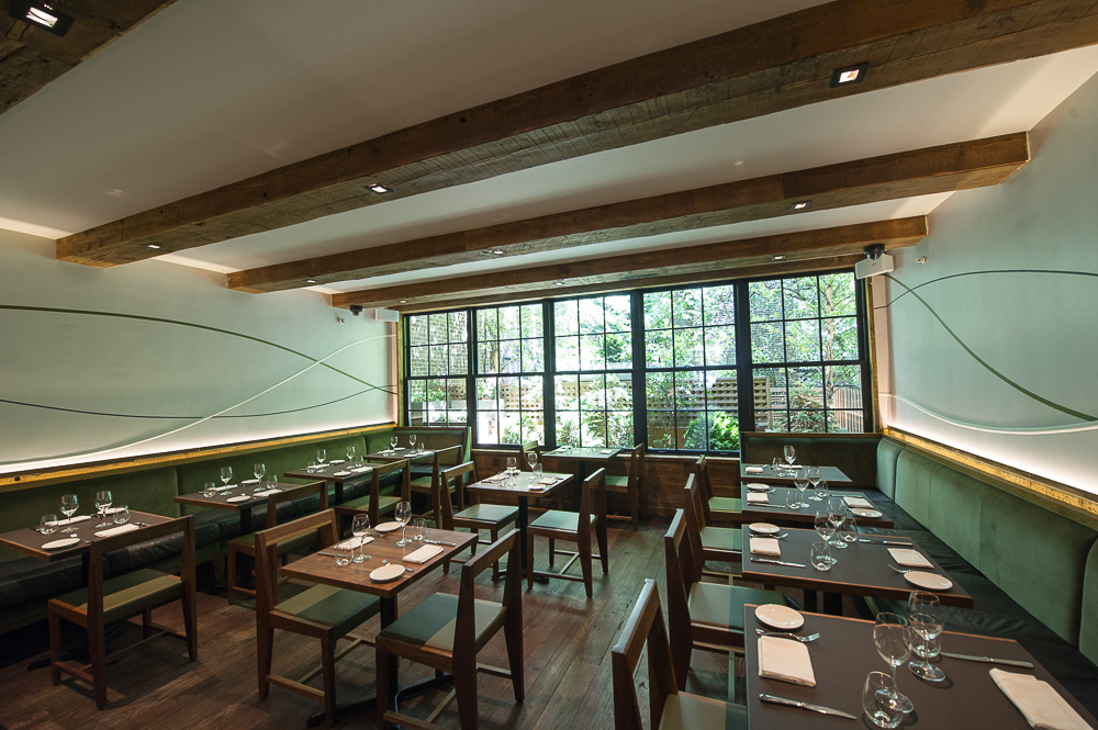 [The dining room at Piora.  What if you went here for dinner tonight? It serves one of the city's most interesting salads and a killer steak.]