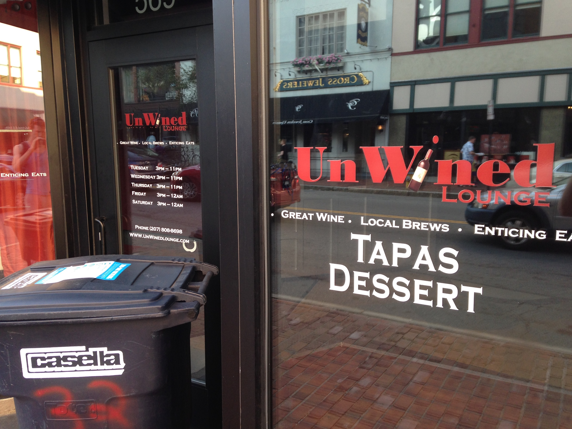 UnWINEd closed during regular service on a Tuesday.