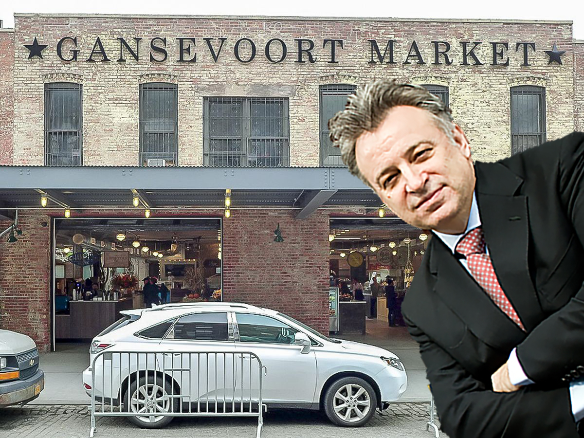 A man stands off-screen in front of a brick building whose sign reads Gansevoort Market in all capital letters