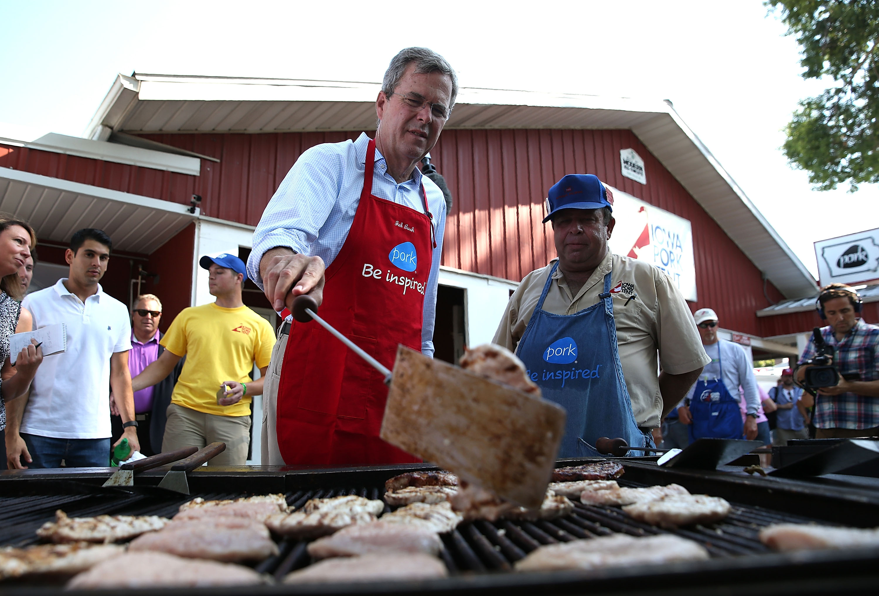 Unlike his trip to the Iowa State Fair, Jeb Bush's visit to The Varsity did not include work on the grill.