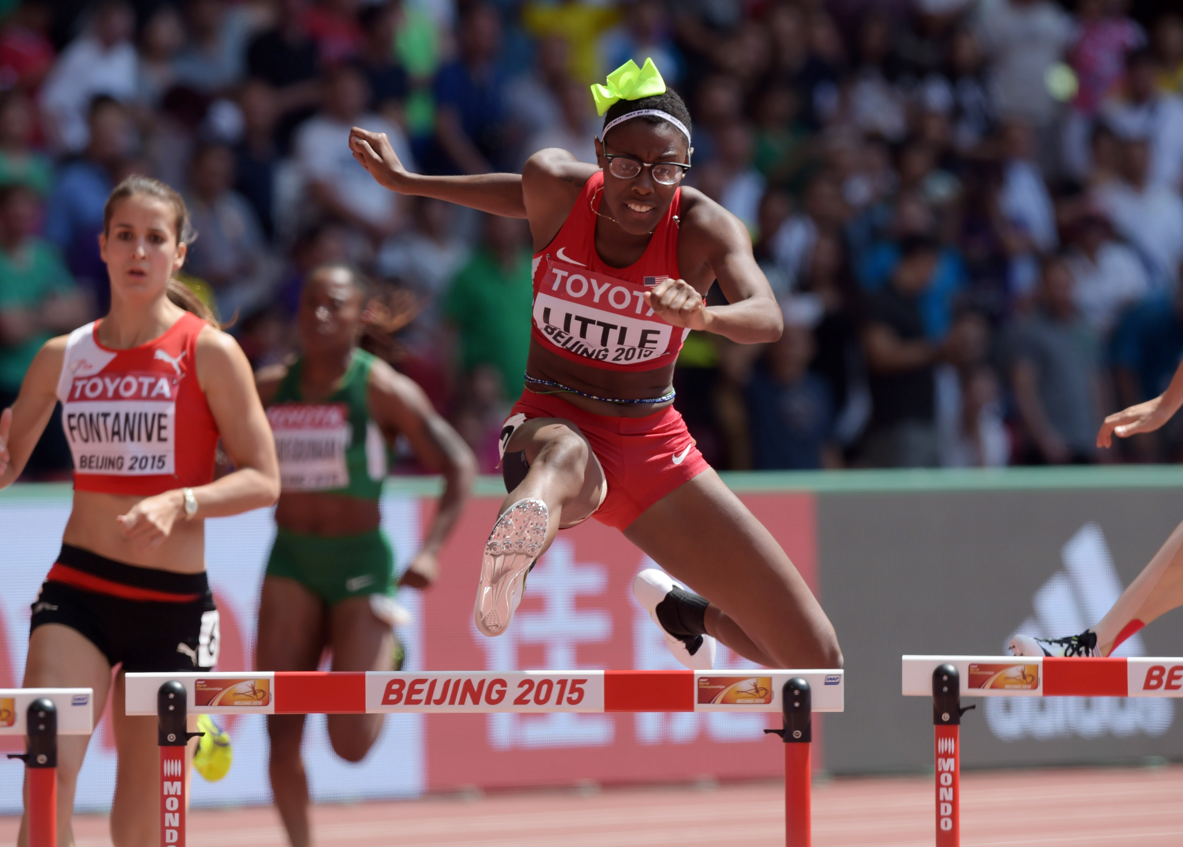 Shamier Little at the IAAF World Championships.