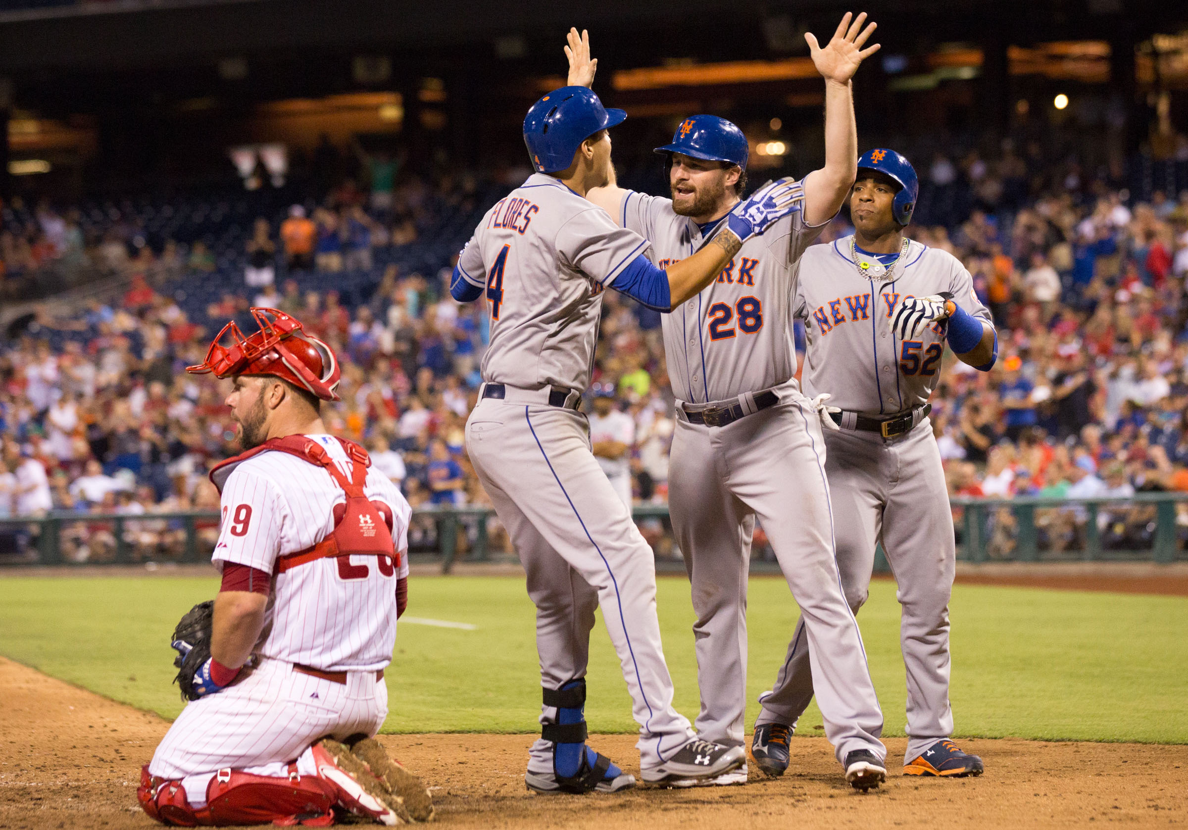 After the Rockies hung nine runs on the Mets twice over the weekend but STILL got swept, the Phillies blew a 7-2 lead against them last night. The Nats will need some of the Mets opponents to start cashing in.
