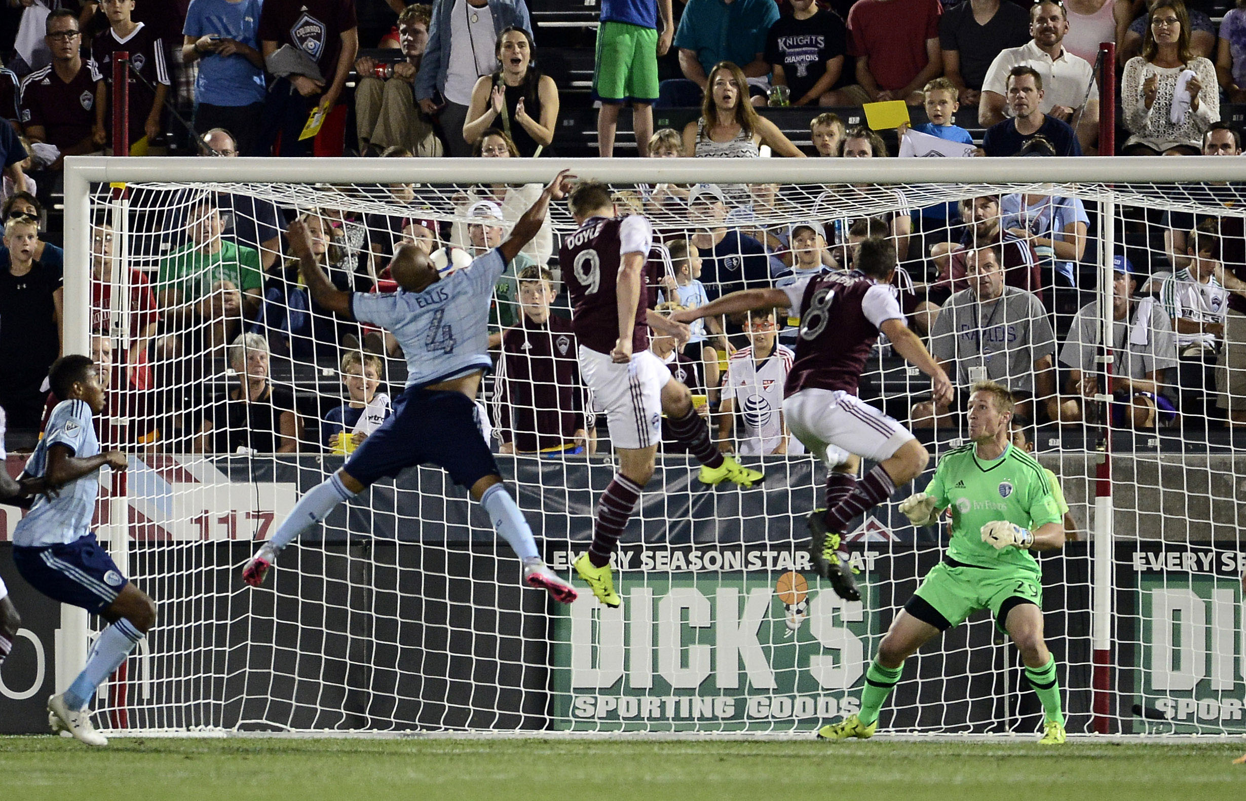 Kevin Doyle heads home the game winner versus Sporting Kansas City.