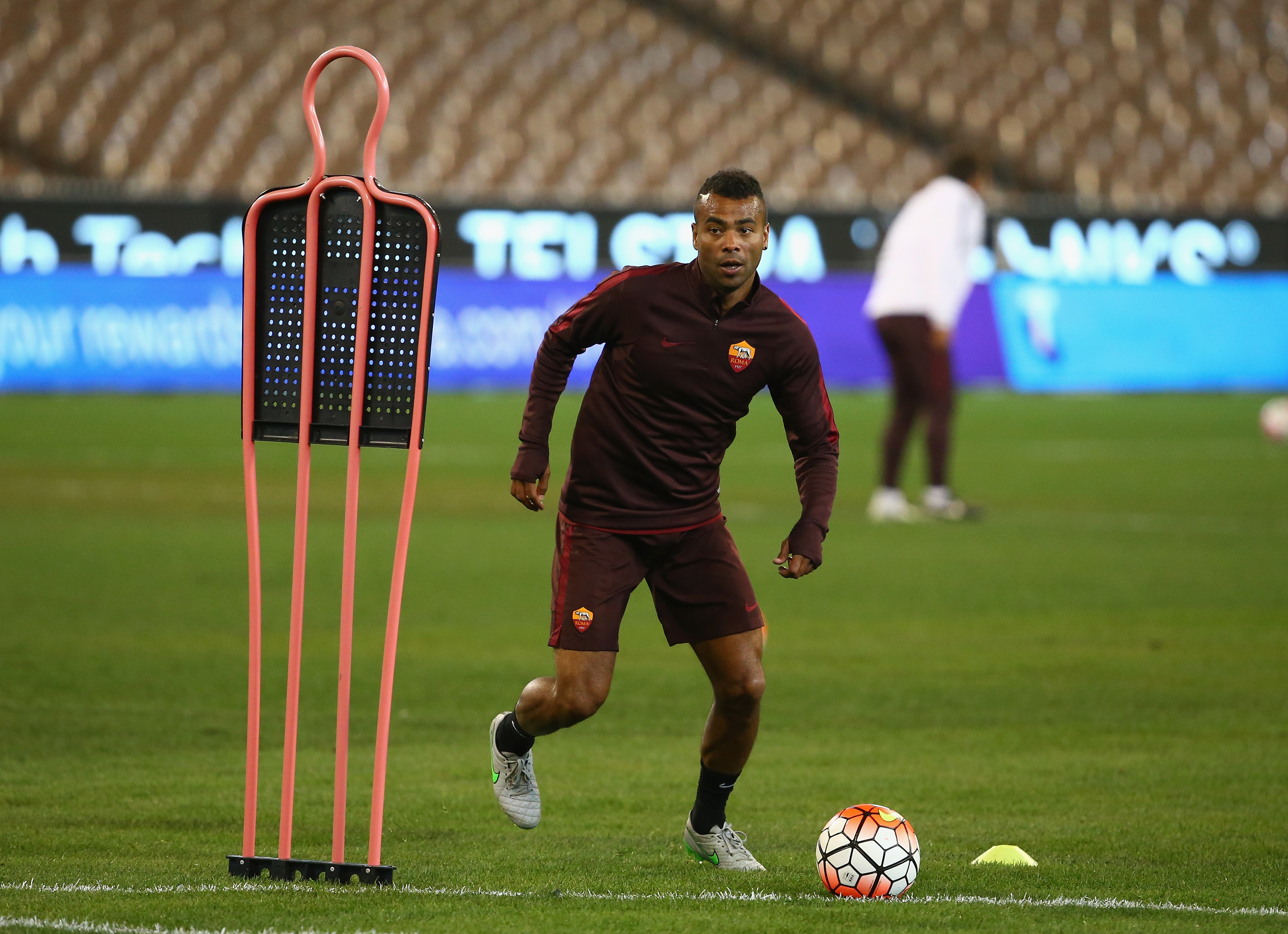 Ashley Cole on the training ground, where he will remain until a suitable transfer offer surfaces
