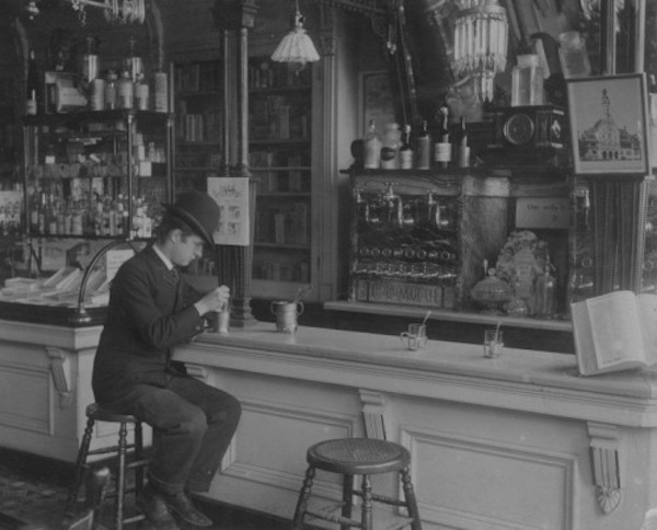 Vogelsang's Drugstore's soda fountain at Lincoln and Fullerton in Chicago in the 1890s.