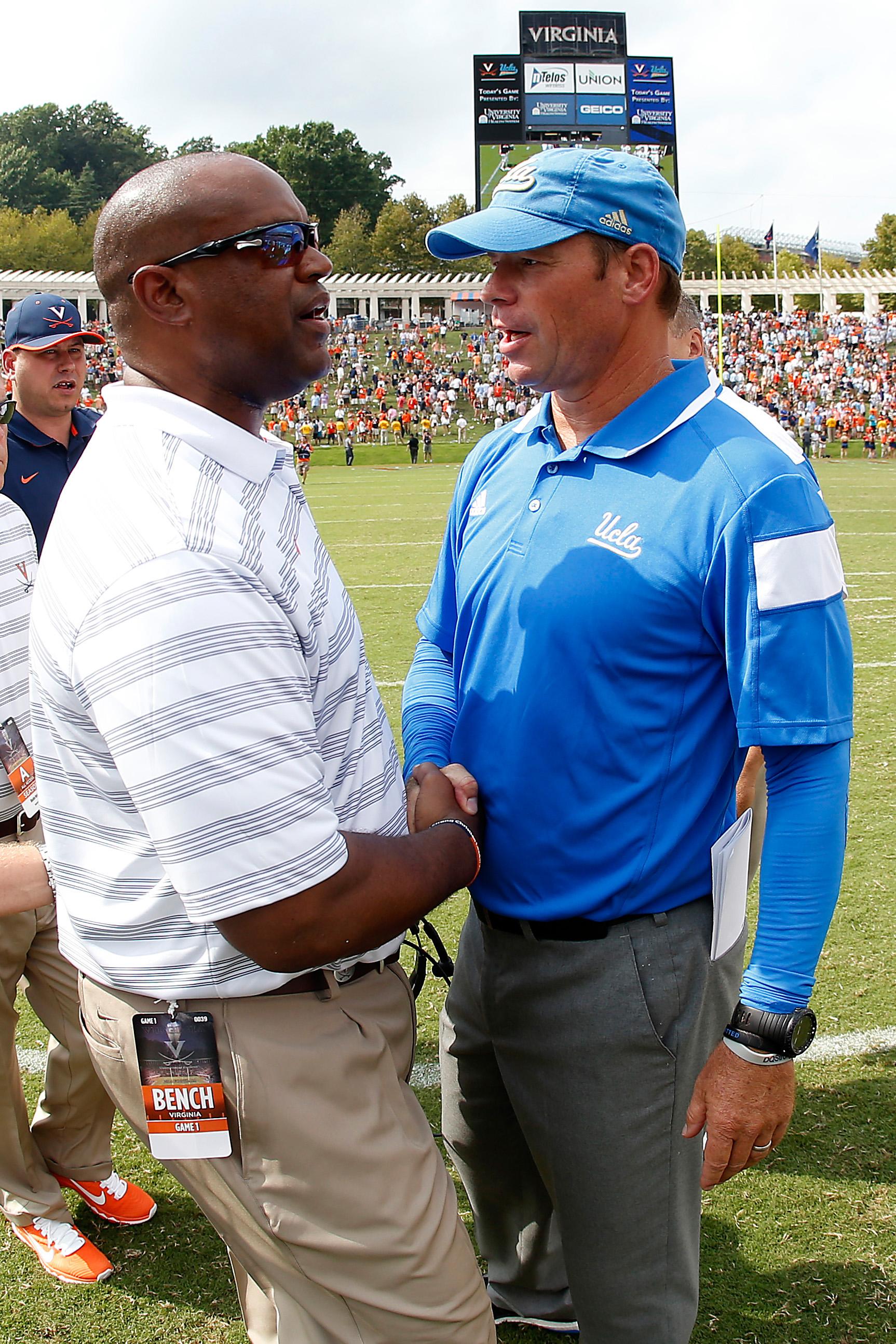 UCLA Coach Jim Mora and UVa Coach Mike London will face off again tomorrow.