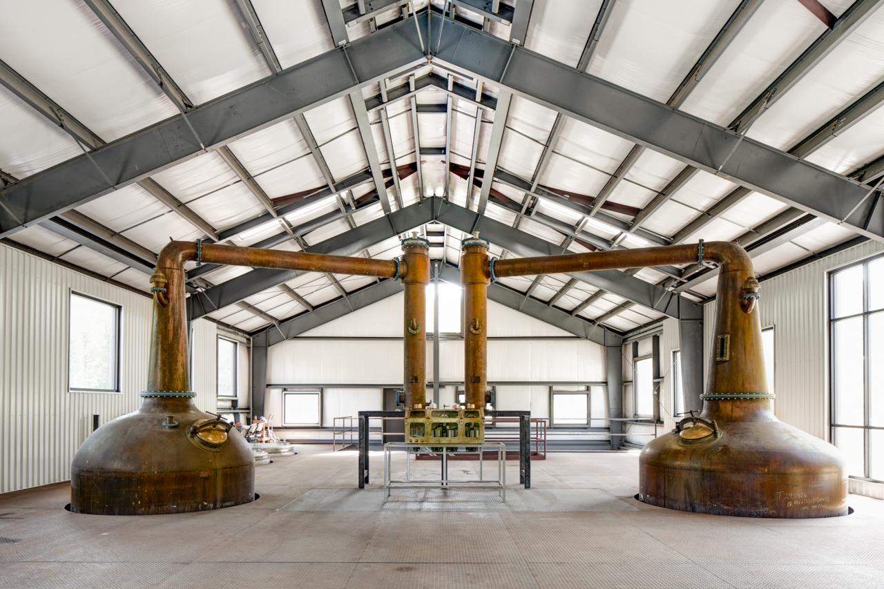 The copper pot stills at Virginia Distillery Company.