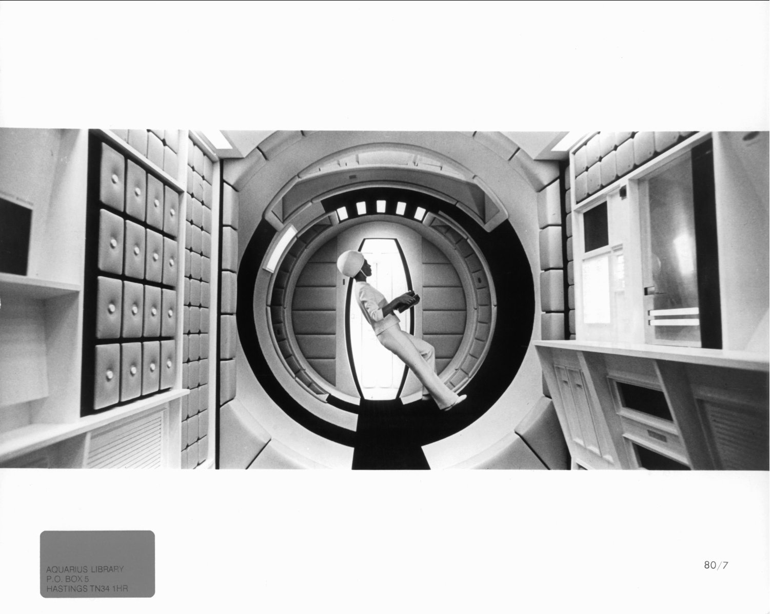 """Air stewardess carrying a weightless food tray in 1968's """"2001: A Space Odyssey."""""""