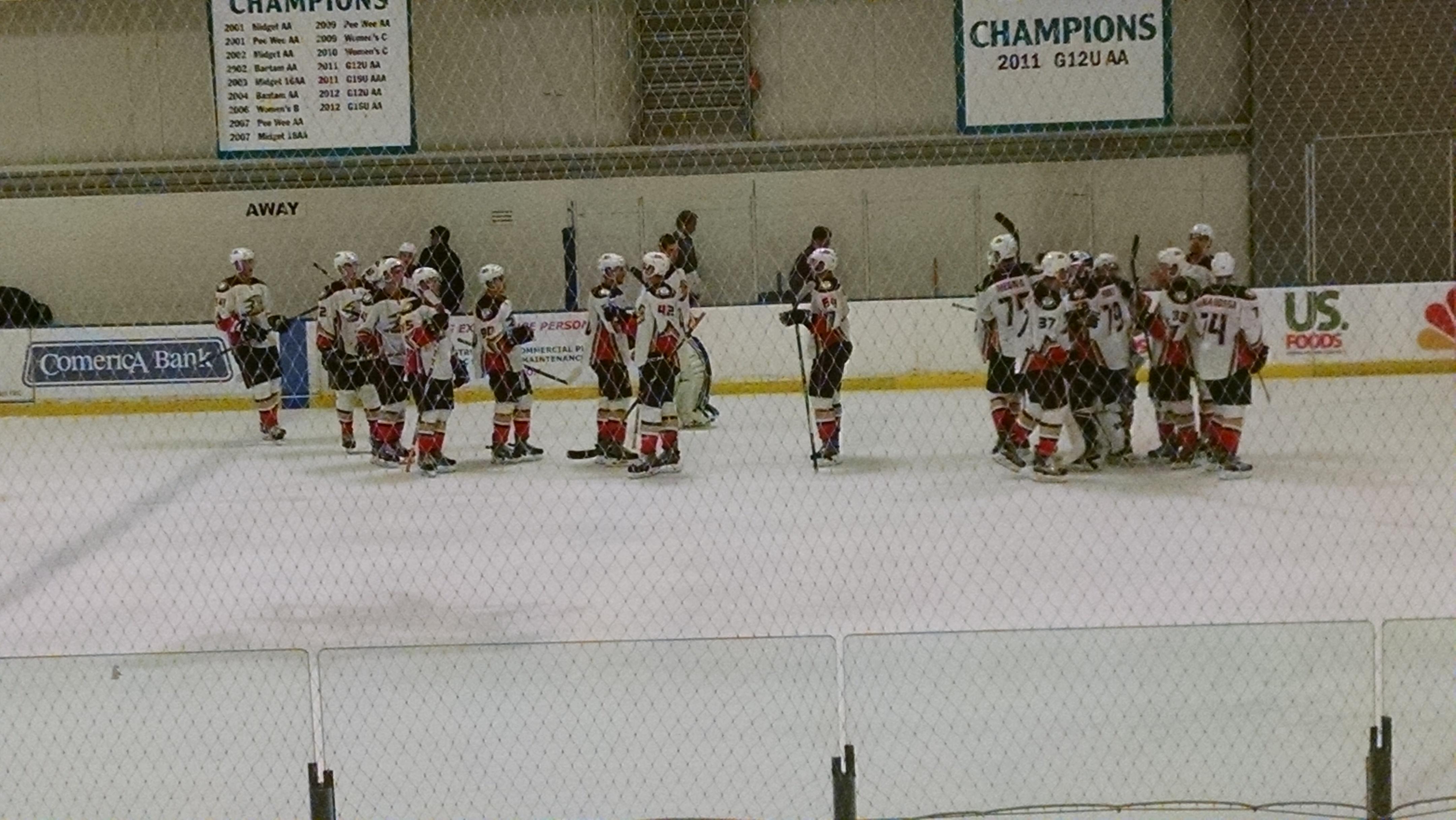 The Ducks rookies celebrate their win at Sharks Ice-San Jose on Sunday, September 13.