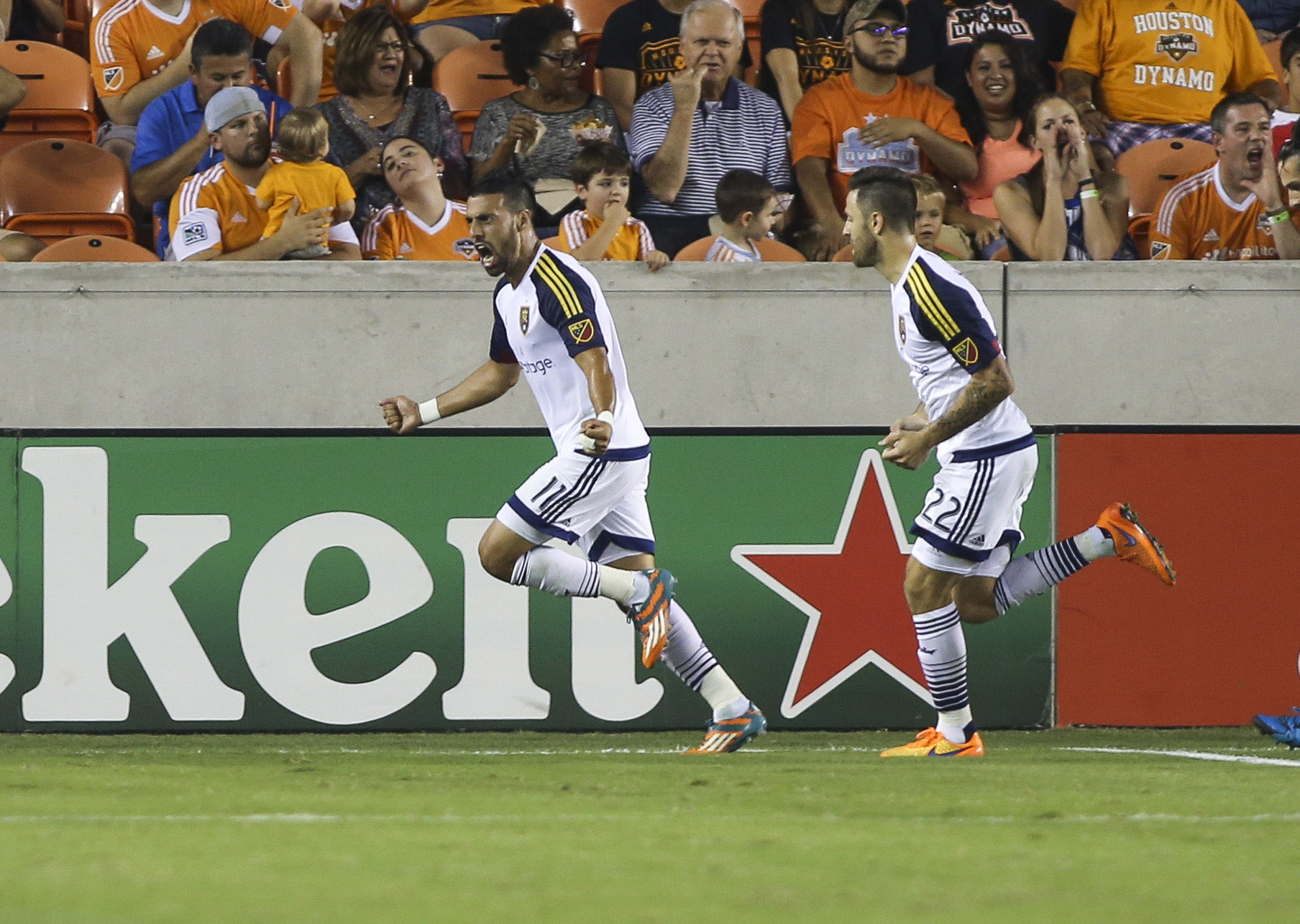 Javier Morales (11) scored RSL's first goal against the Dynamo.