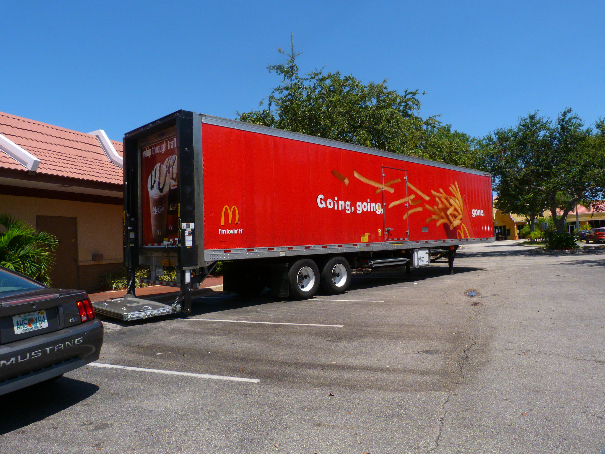 An unhitched McDonald's trailer