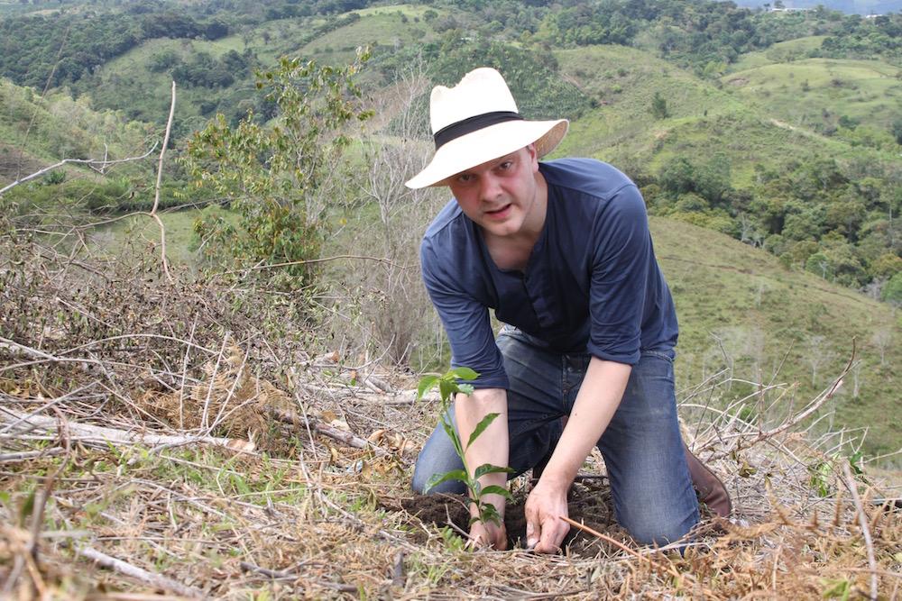 Tim Wendelboe planting coffee beans in February 2015.