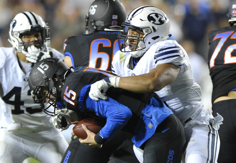 BYU linebacker Harvey Langi sacks Boise State's quarterback