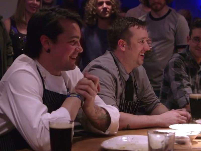 """Chefs Patrick McKee and Ben Bettinger (from an episode of Esquire TV's """"Knife Fight"""" last spring)"""
