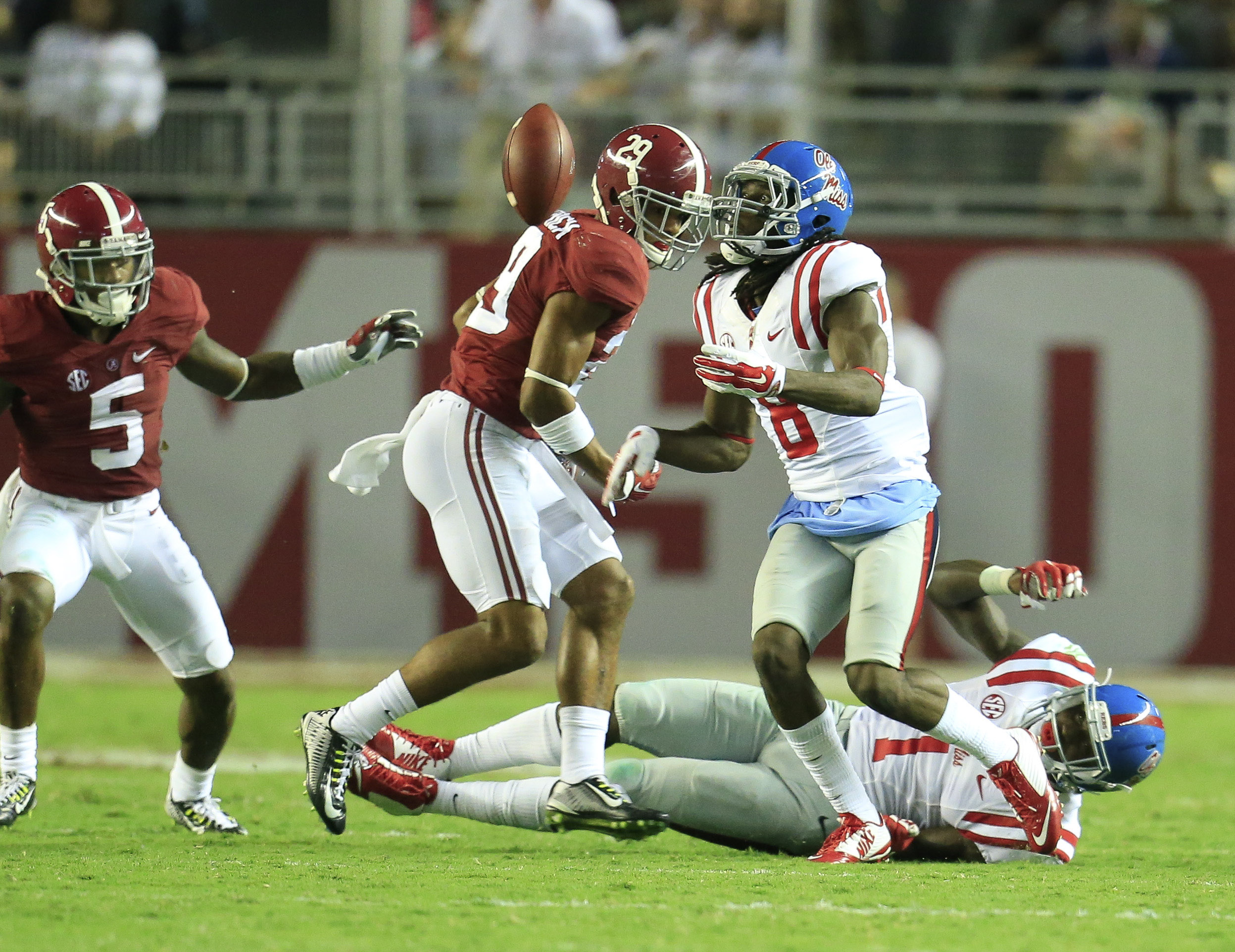 Ole Miss WR Quincy Adeboyejo's miracle TD proved it was the Rebels' night in Tuscaloosa.