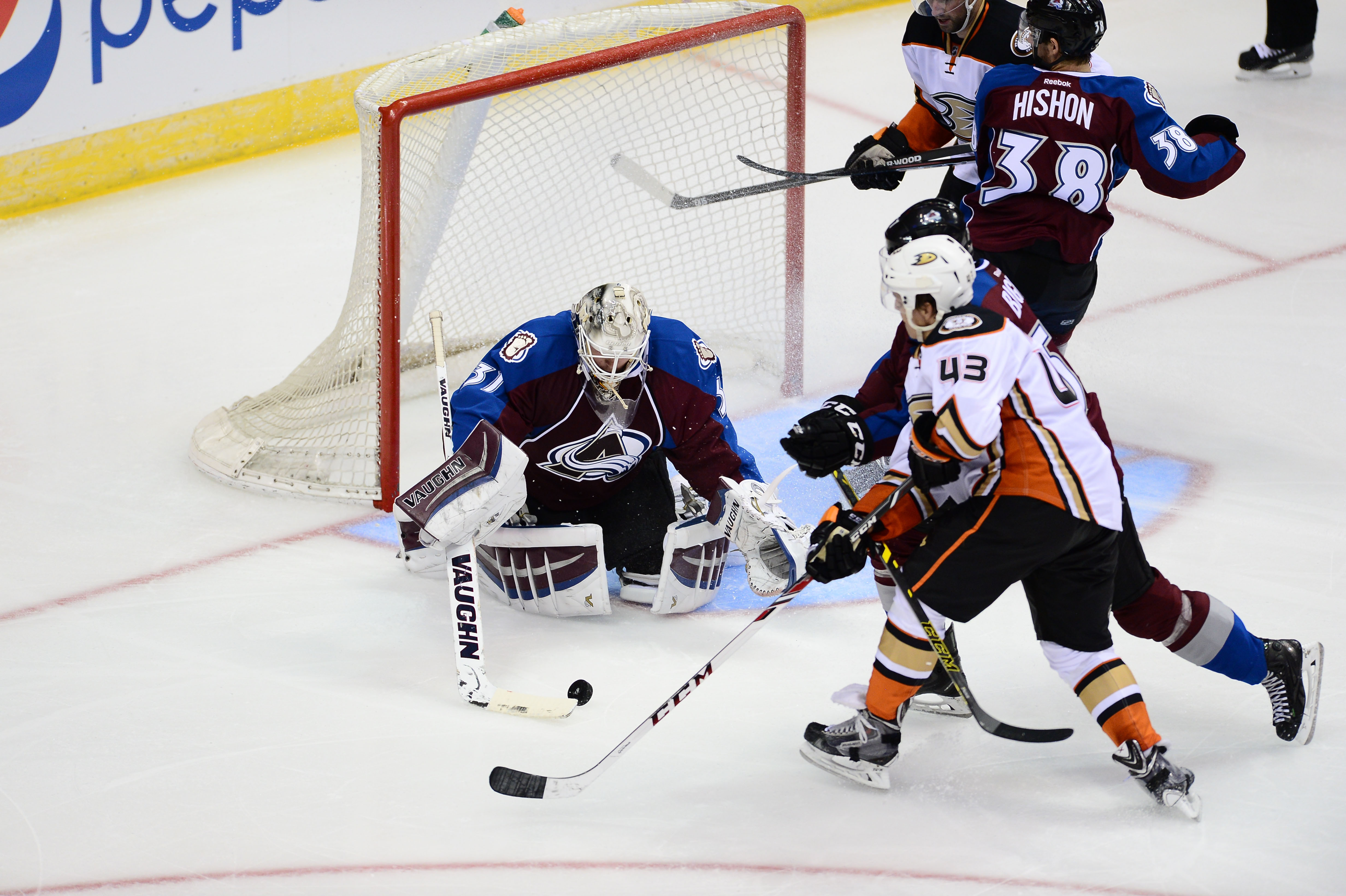 Max Friberg battles for position in front of the net last season against the Avalanche.