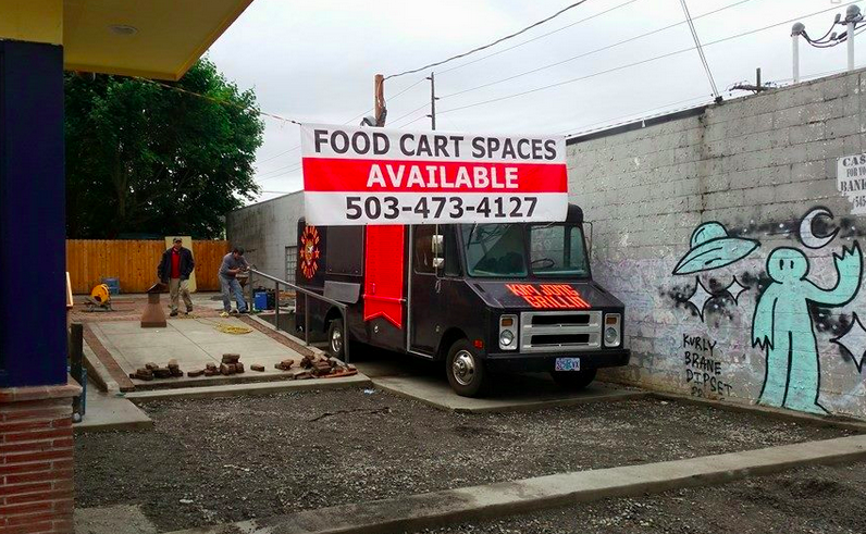 The Northeast 42nd Food Carts pod when Kim Jong Grillin' first joined.