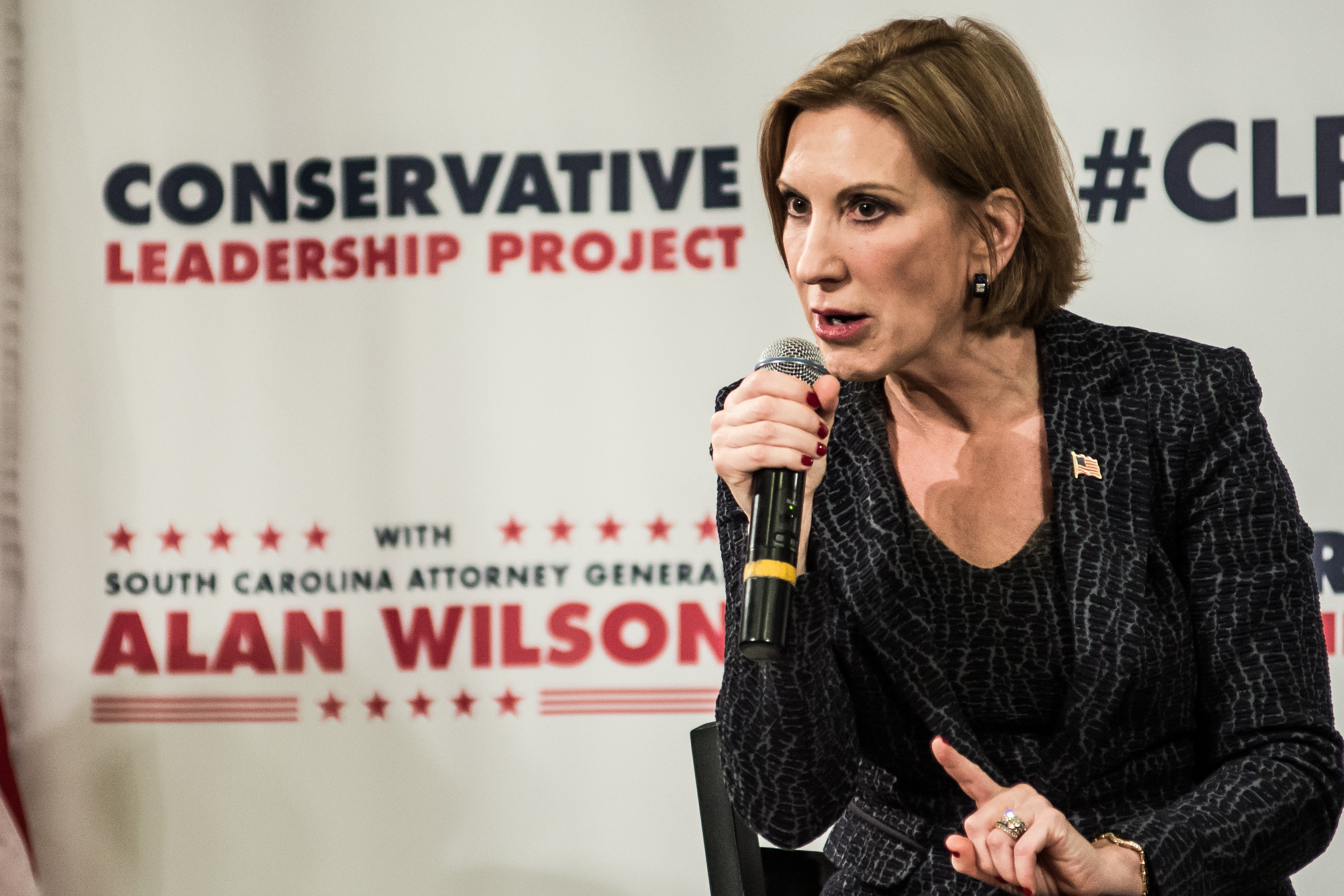 Republican presidential candidate Carly Fiorina speaks to voters during a town hall meeting at the Ocean Reef Convention Center September 22, 2015, in Myrtle Beach, South Carolina.