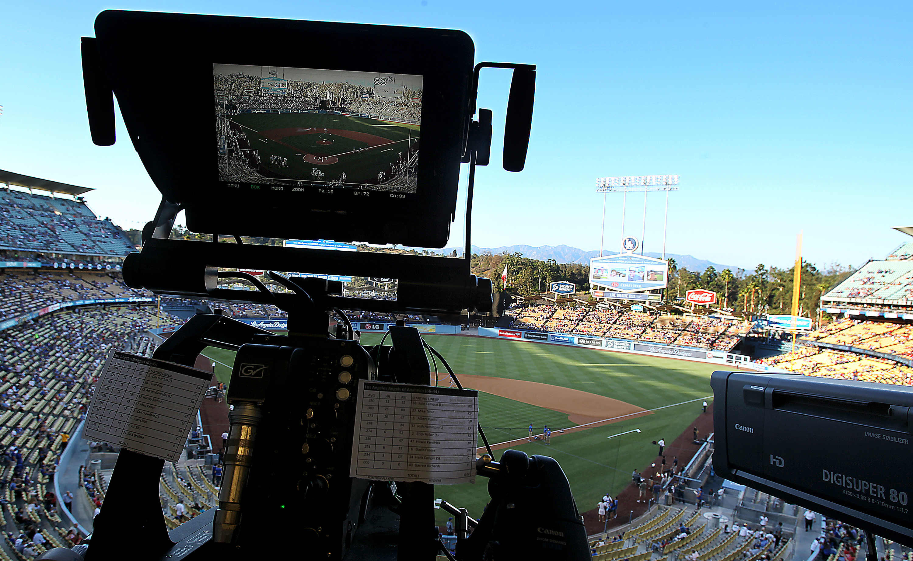A TV camera shoots the Dodgers, as Sonnenburg often does.