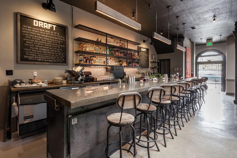 The bar at Old Bus Tavern.