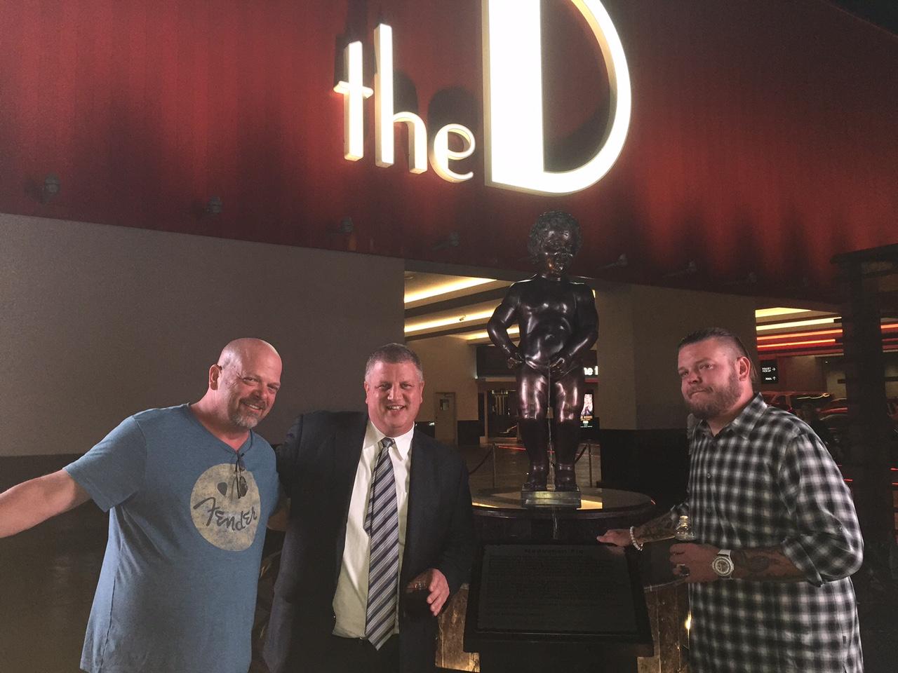 From left, Rick Harrison, D Las Vegas owner Derek Stevens and Corey Harrison.
