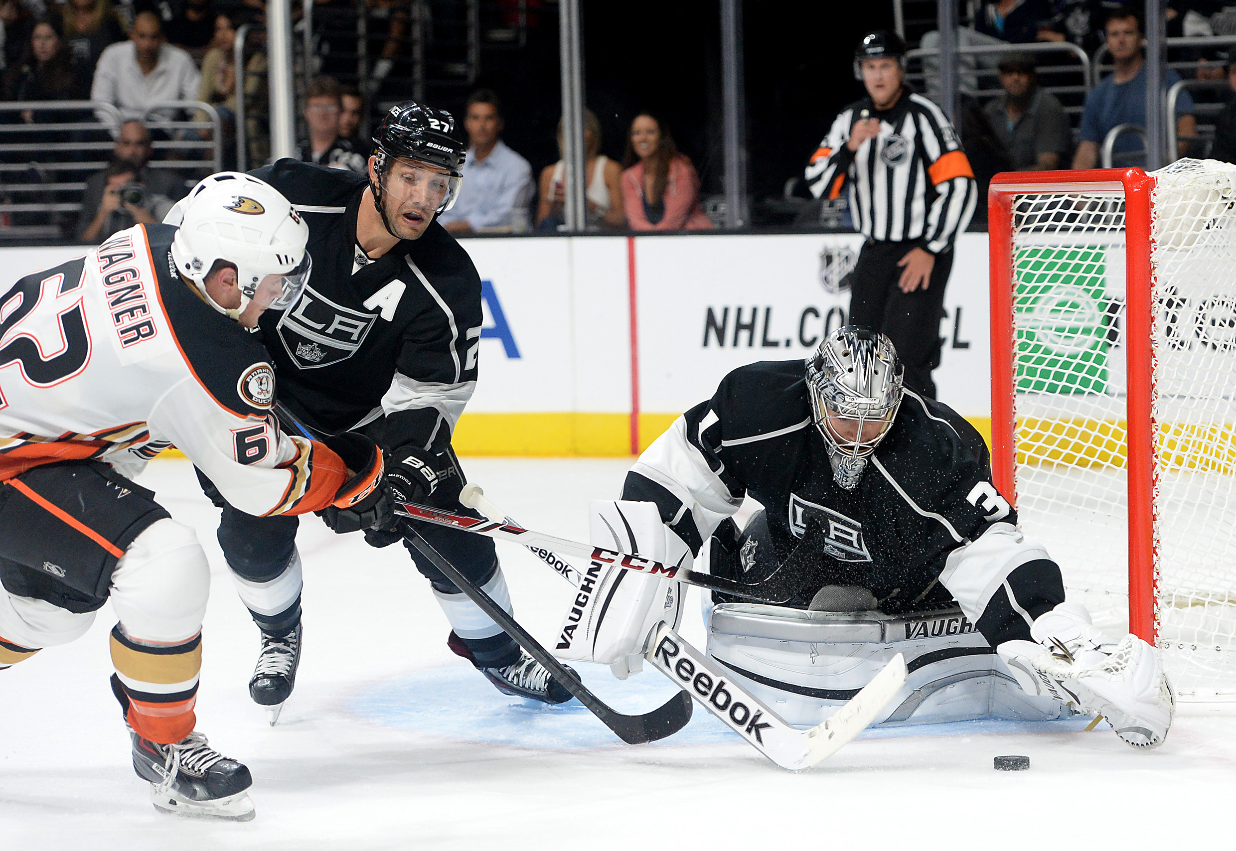 Chris Wagner drives the net during last year's preseason game at STAPLES Center.