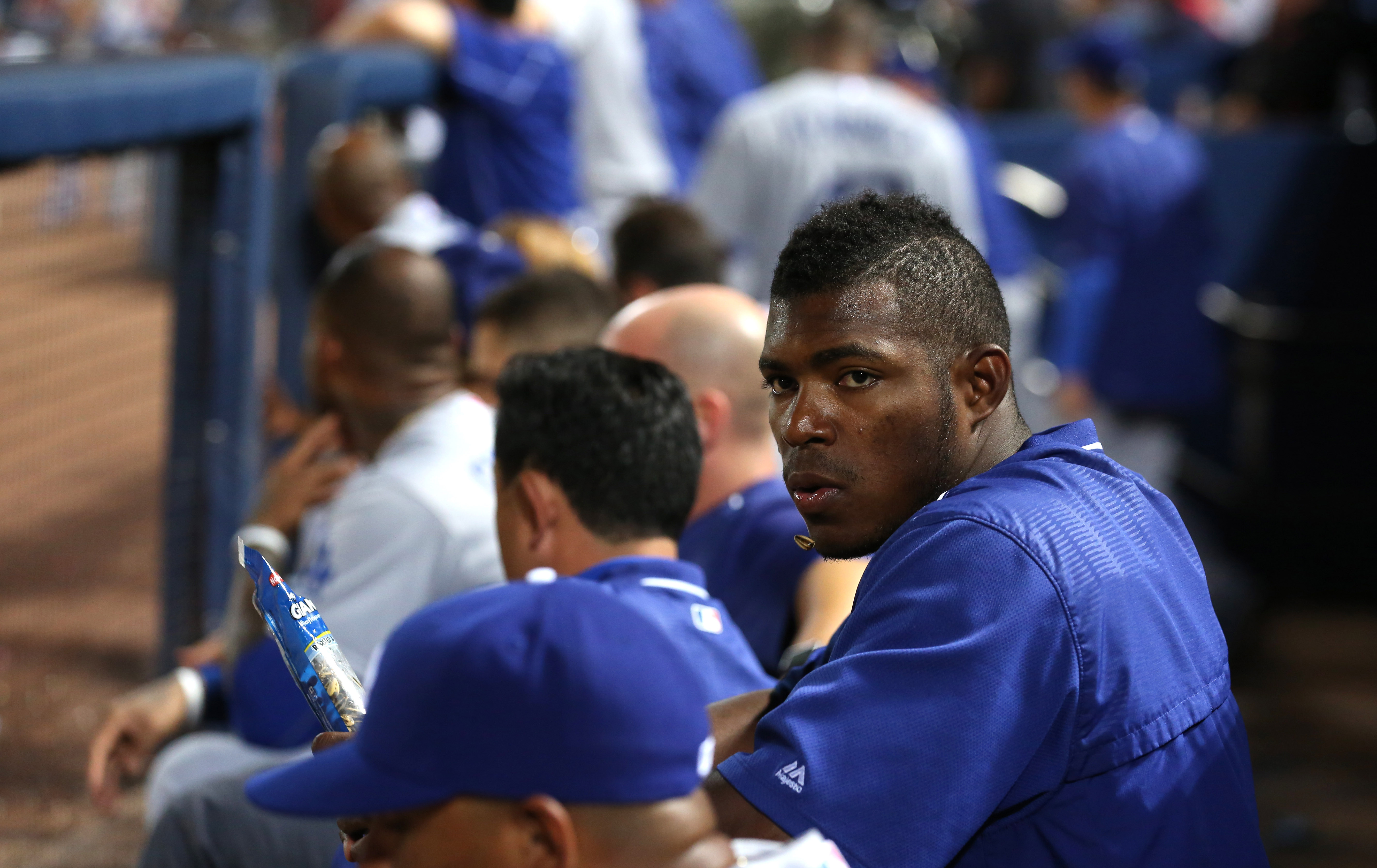 Yasiel Puig seems likely to be on the sidelines for the Dodgers during the National League Division Series.