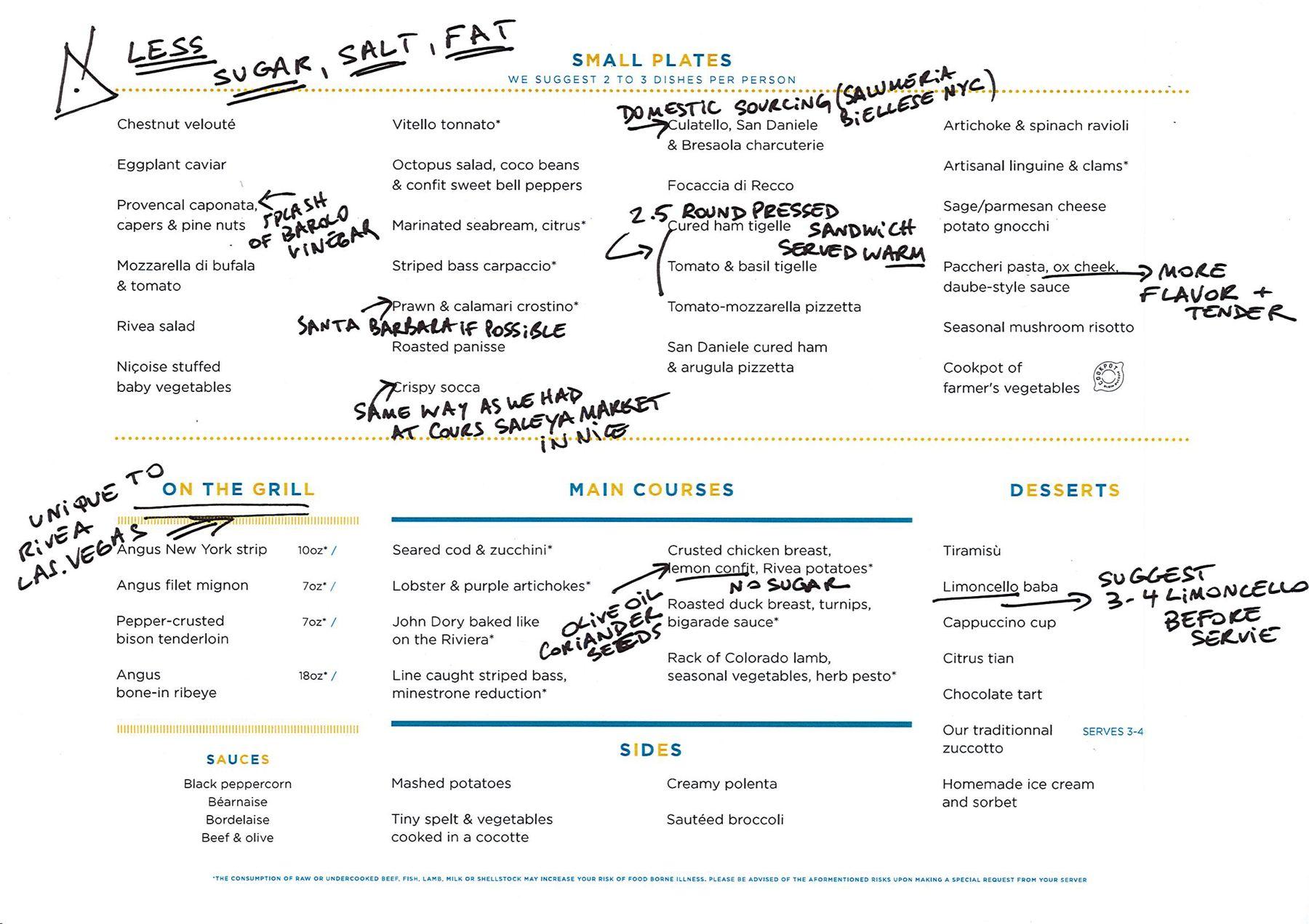 Rivea annotated menu