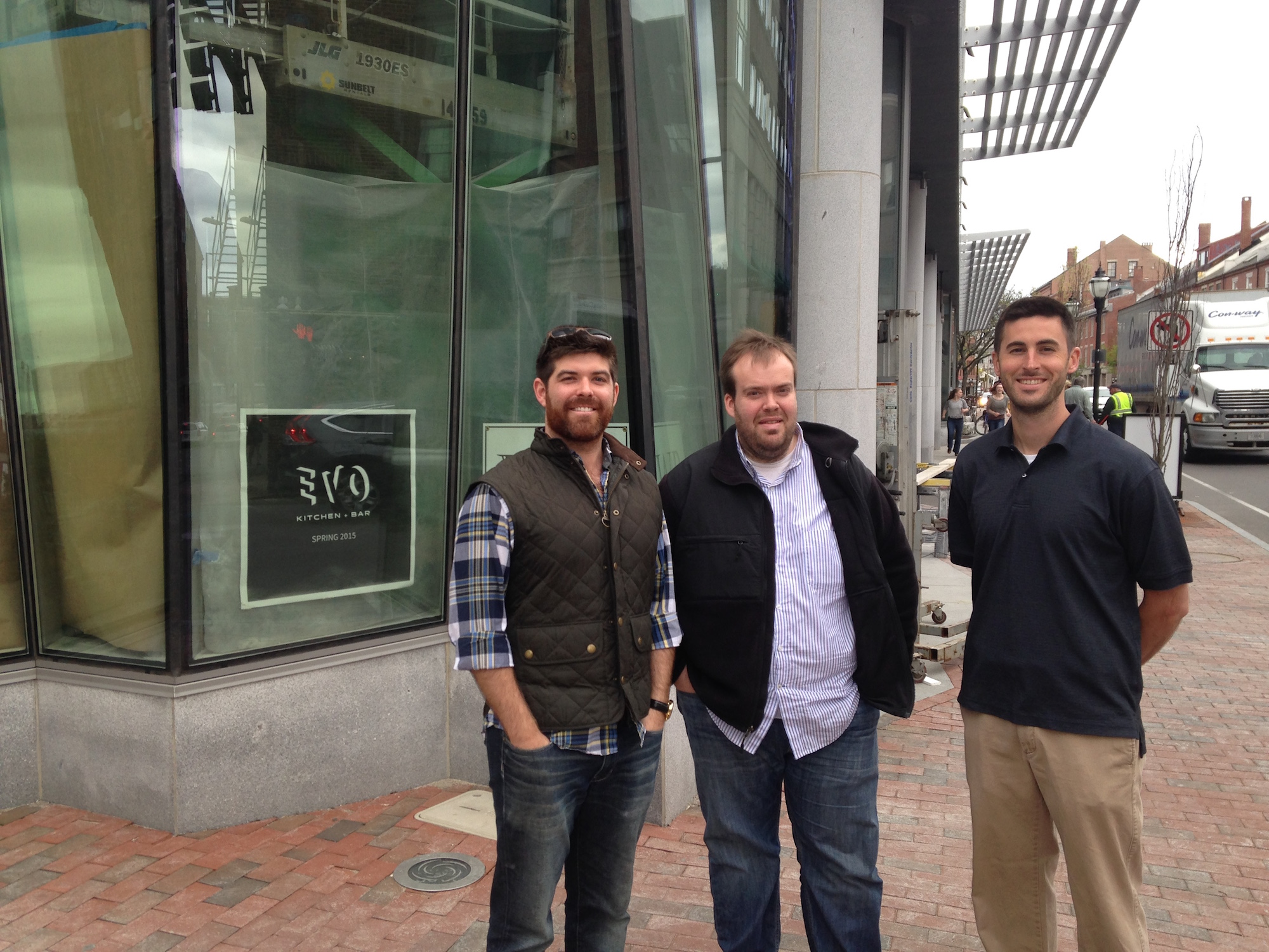 From left to right, co-owner Casey Prentice, executive chef Brandon Hicks, and chef de cuisine Matt Ginn pose shortly before the opening of Evo.