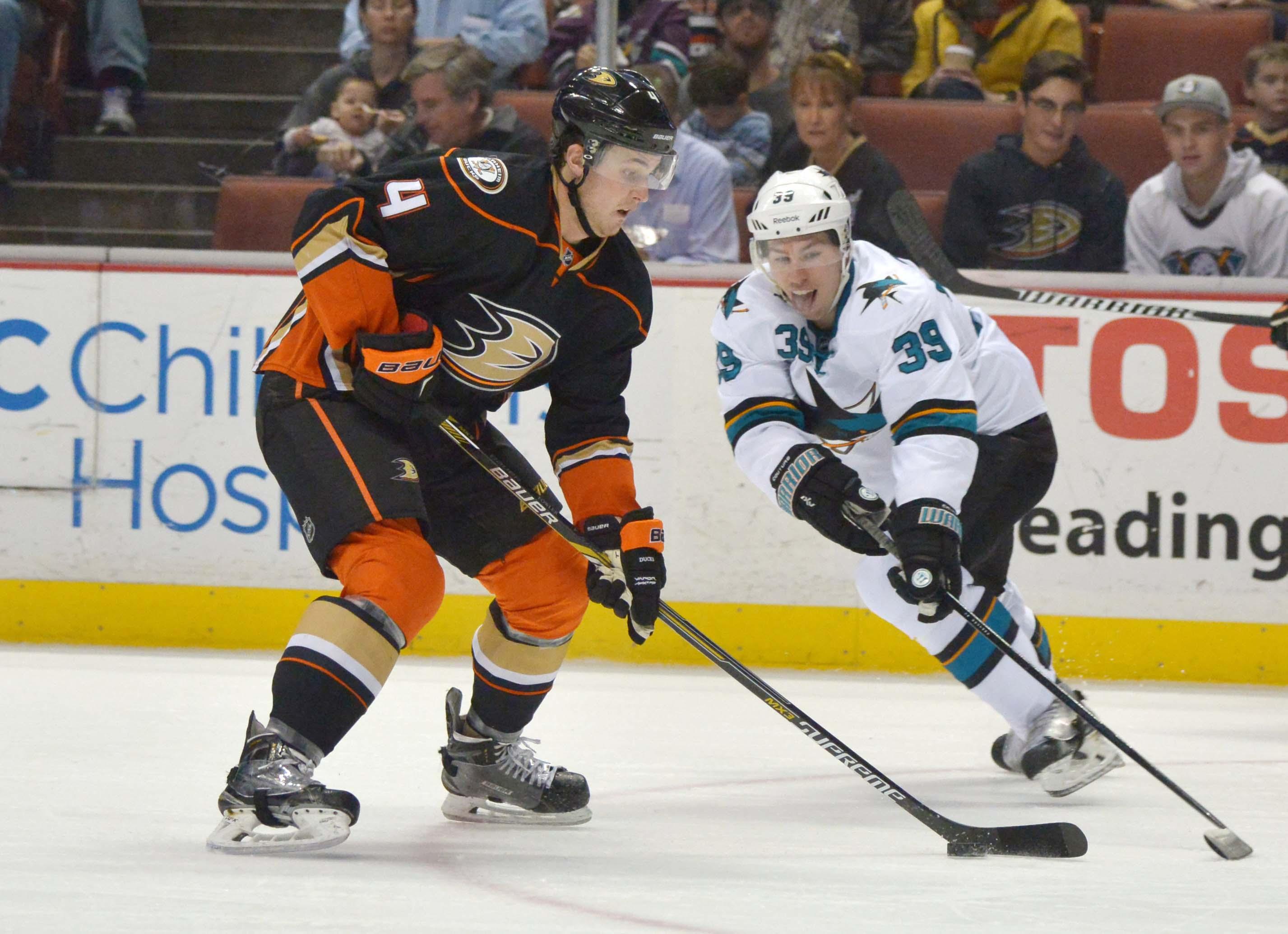 Cam Fowler handles the puck against the Sharks last season at Honda Center.
