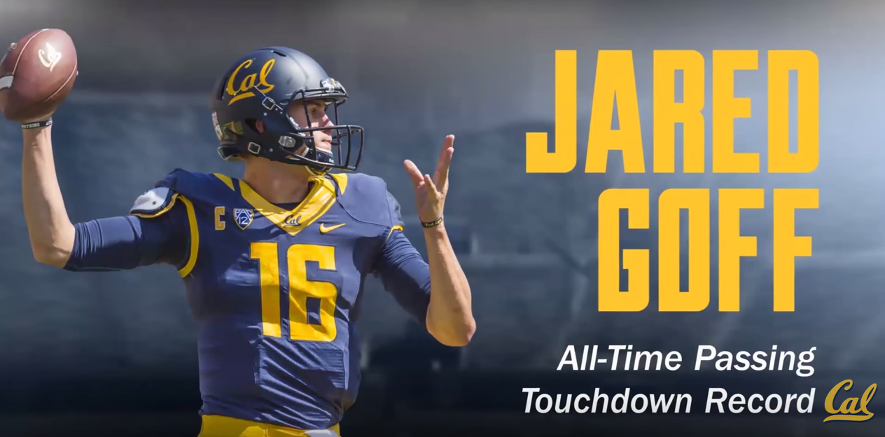 Jared Goff, all-time passing Cal TD record