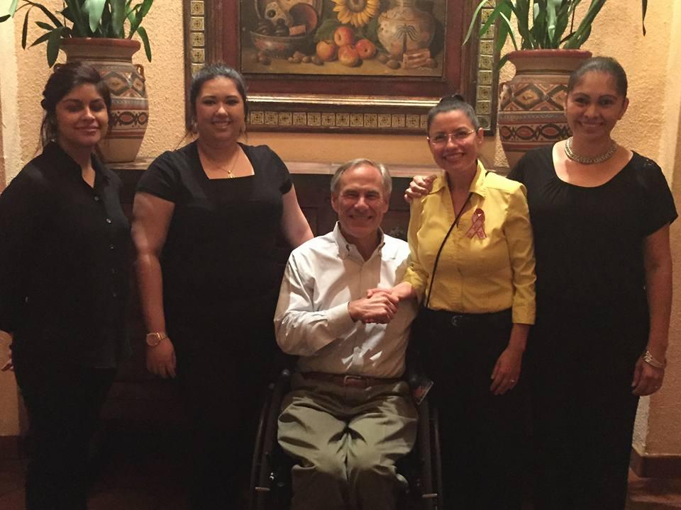 Texas Governor Greg Abbott with Matt's El Rancho staff