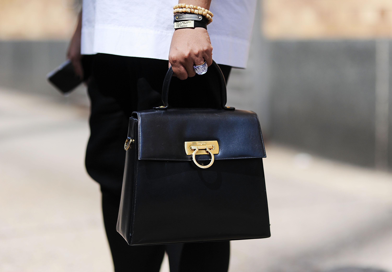 A Ferragamo bag spotted outside of NYFWM in July