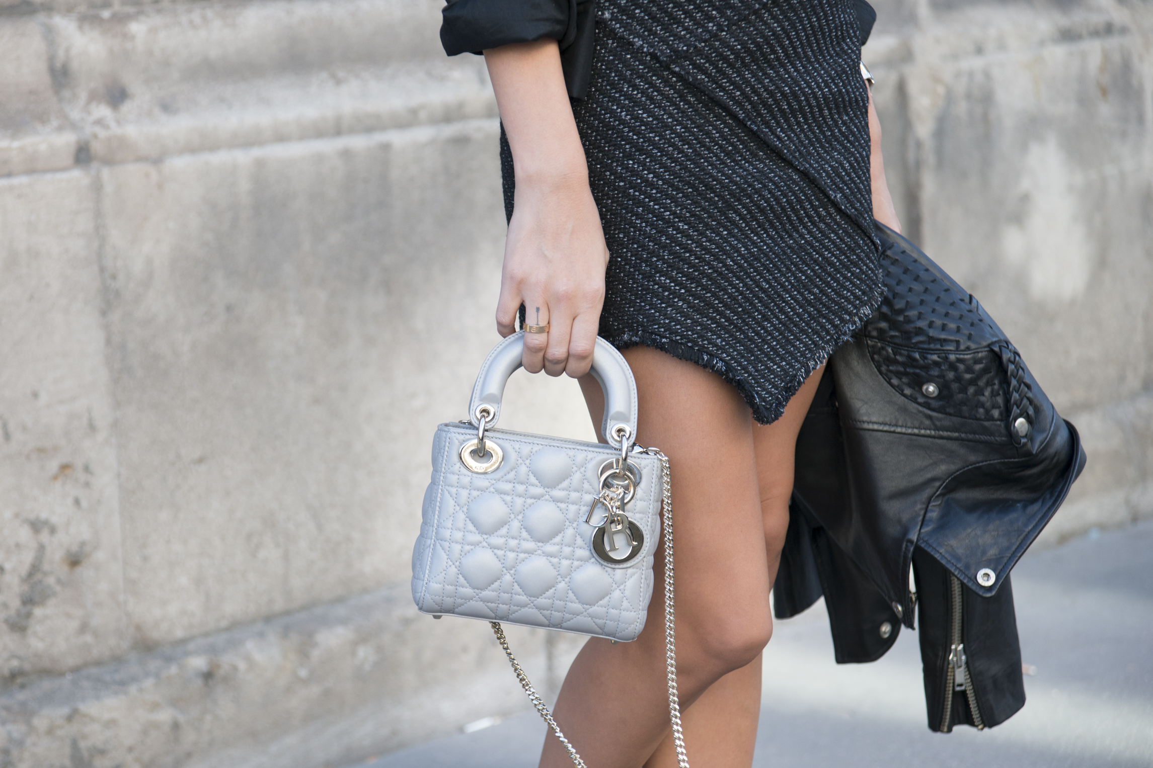 A Maje jacket and skirt spotted at Paris Fashion Week