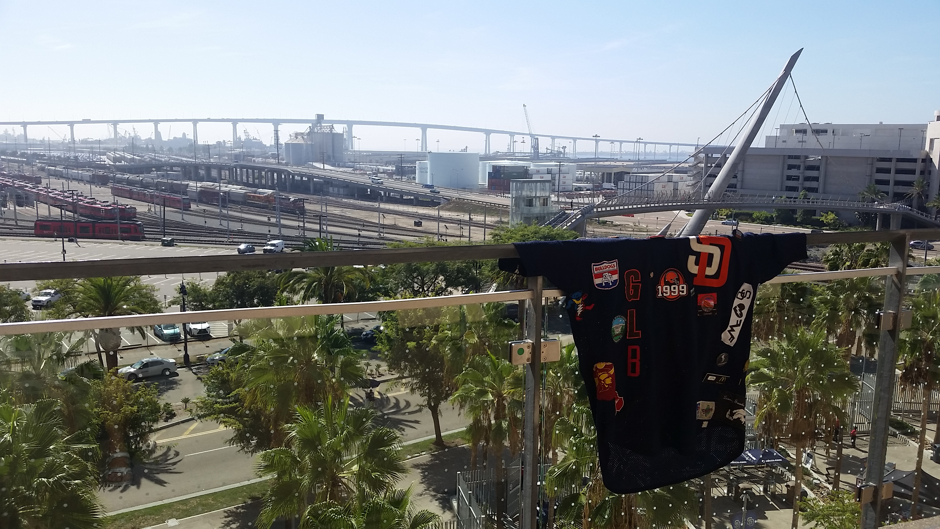 The jersey soaks in the view from Club 19 at Petco Park during SD Social Summit.