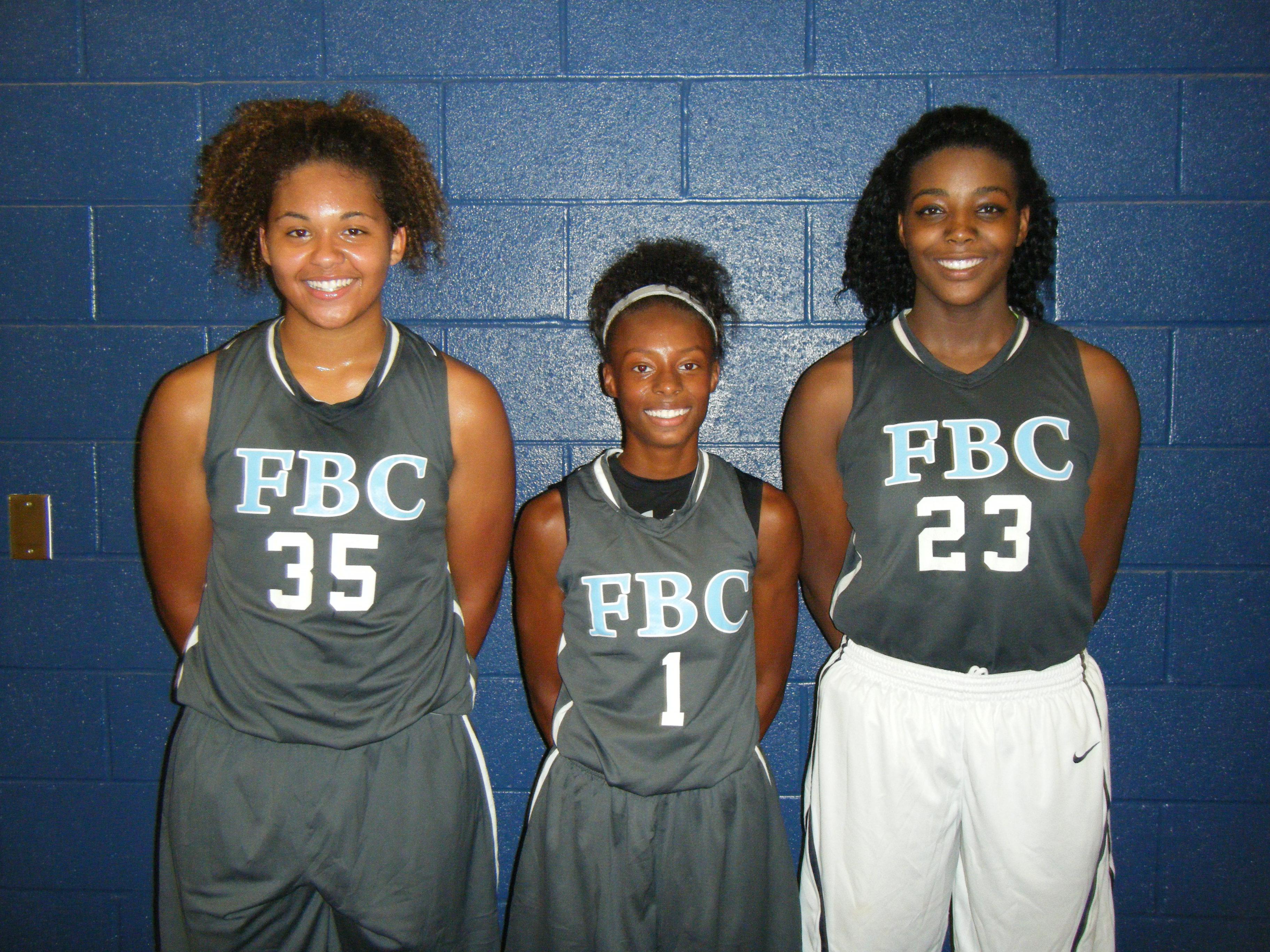Javyn Nicholson, Bria Harmon and Jada Rice of FBC Black and Collins Hill High School