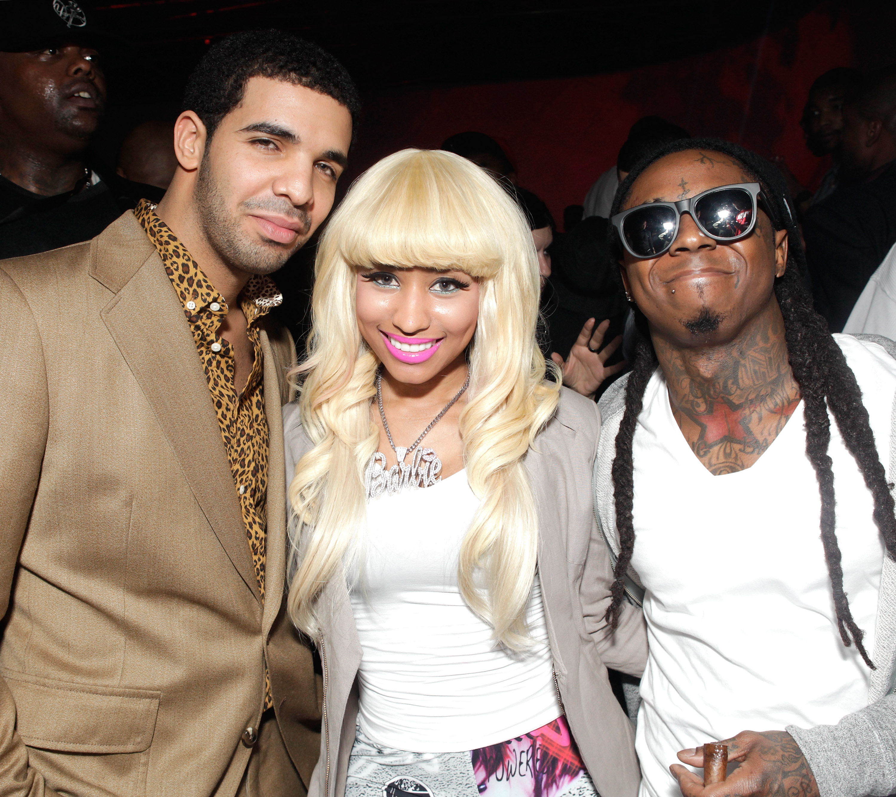 It wouldn't be a history of hip-hop without the rise of Young Money Entertainment. Drake, Nicki Minaj, and Lil Wayne in 2011.