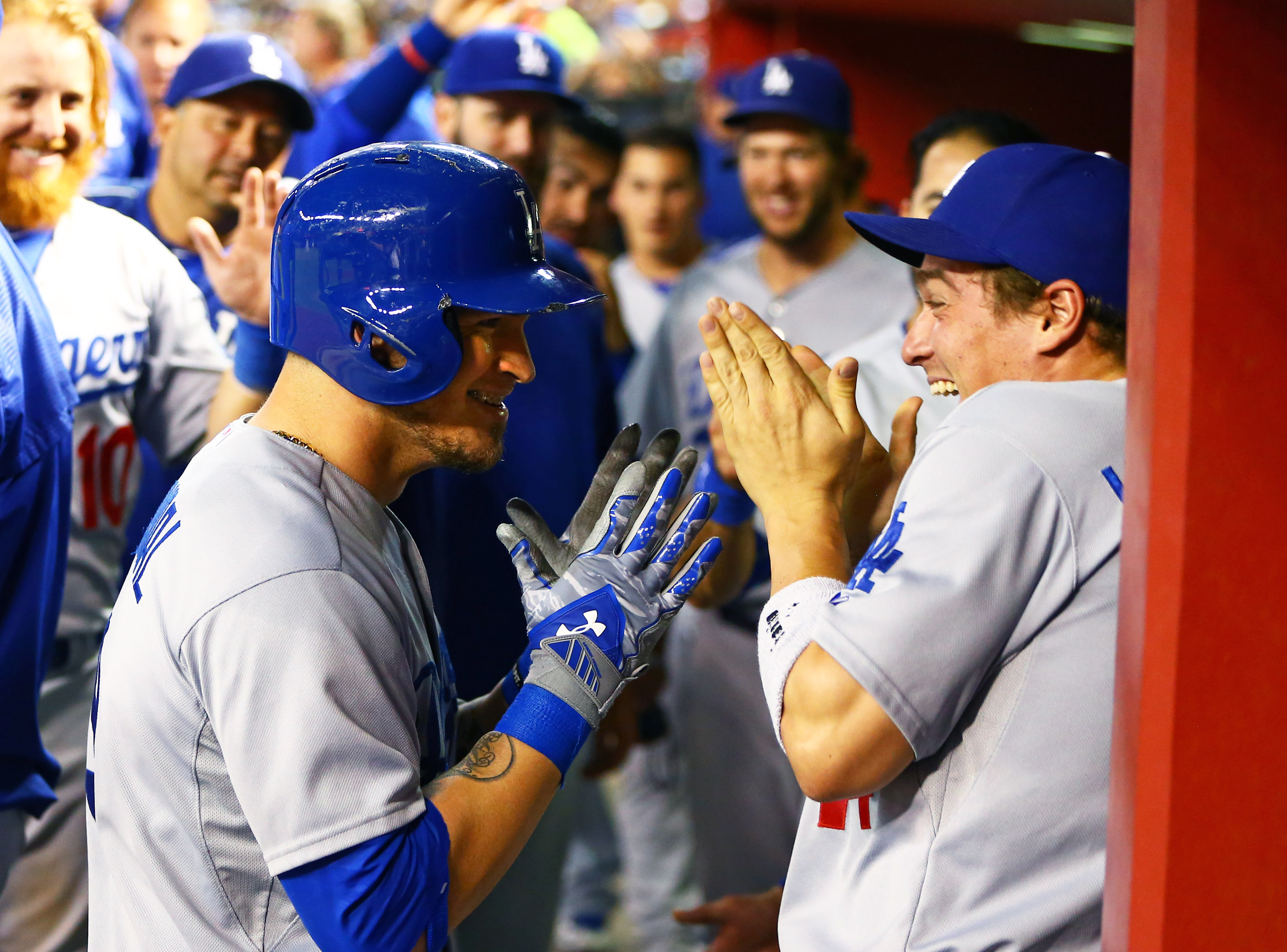 Yasmani Grandal and Kiké Hernandez, presumably when told they would start in Game 2.