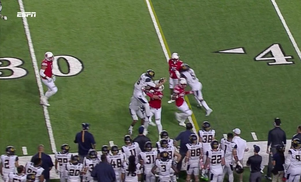 Cal QB Jared Goff tried to vault for yardage but got lifted like a figure skater