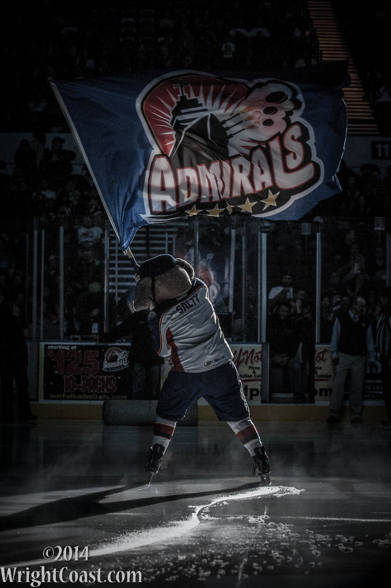 Salty, the Norfolk Admirals Mascot, waves the Admirals flag during pregame ceremony.