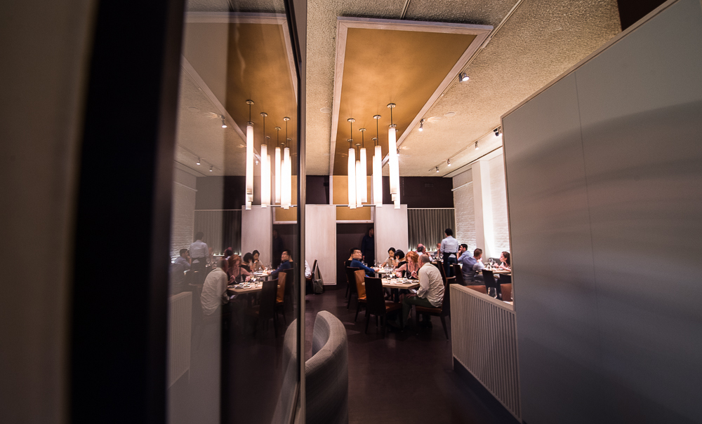 [The dining room at elan on East 20th Street.  Solid choice for a sophisticated Monday night dinner.]