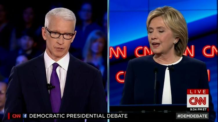CNN's Anderson Cooper, left, asks Hillary Clinton about the 2012 terrorist assault in Benghazi, Libya.